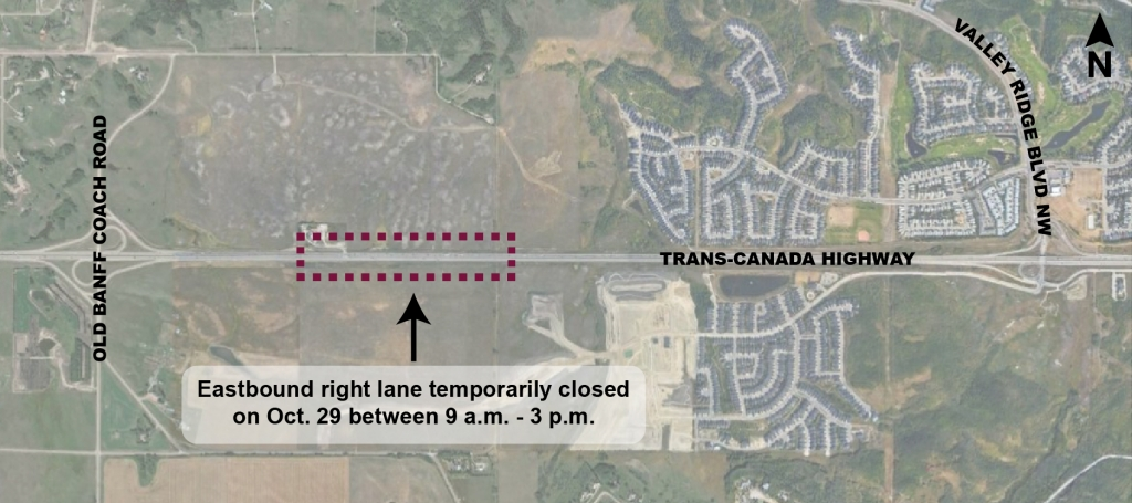 Map showing location of temporary lane closure on Trans-Canada Highway between Old Banff Coach Road and Valley Ridge Boulevard NW.