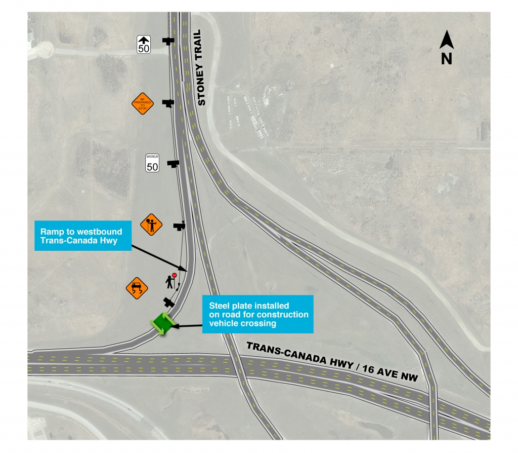 Map showing location of steel plate installation on ramp from southbound Stoney Trail to westbound Trans-Canada Highway