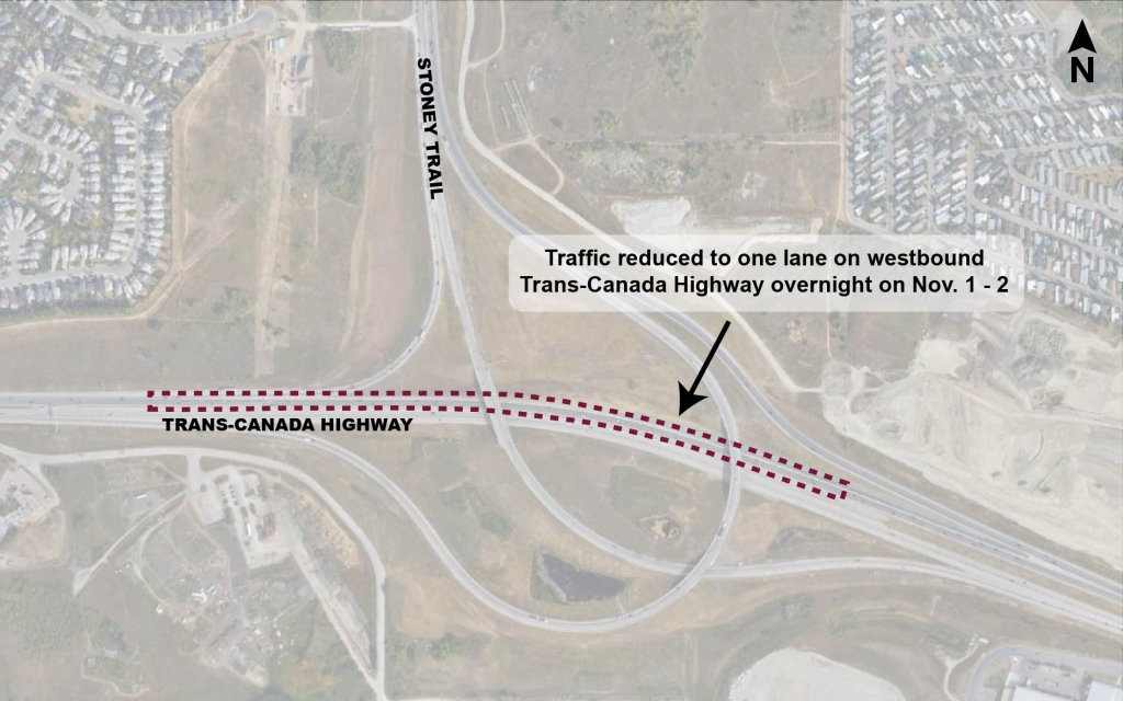 Map showing location of overnight lane closures on westbound Trans-Canada Highway at Stoney Trail