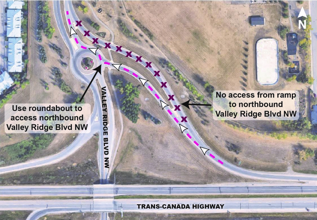 Map showing access to northbound Valley Ridge Boulevard NW using roundabout