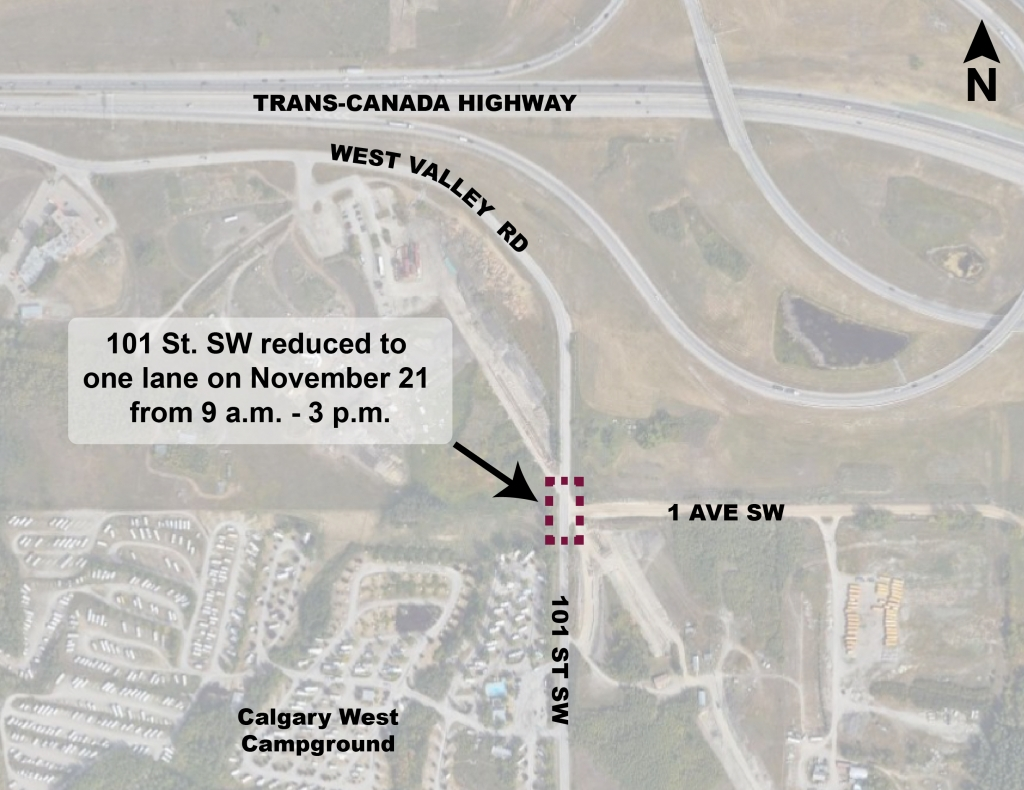 Map showing location of lane closure on 101 Street SW at 1 Avenue SW