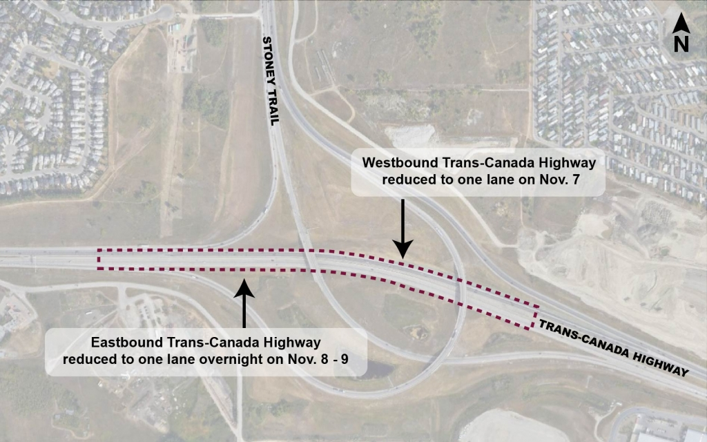 Map showing location of lane closures on the Trans-Canada Highway at Stoney Trail