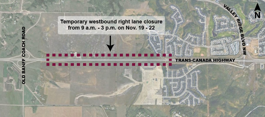 Map showing location of lane closures on westbound Trans-Canada Highway