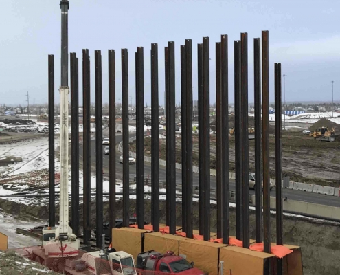 Centre bridge pier piles for Stoney Trail south of Trans-Canada Highway