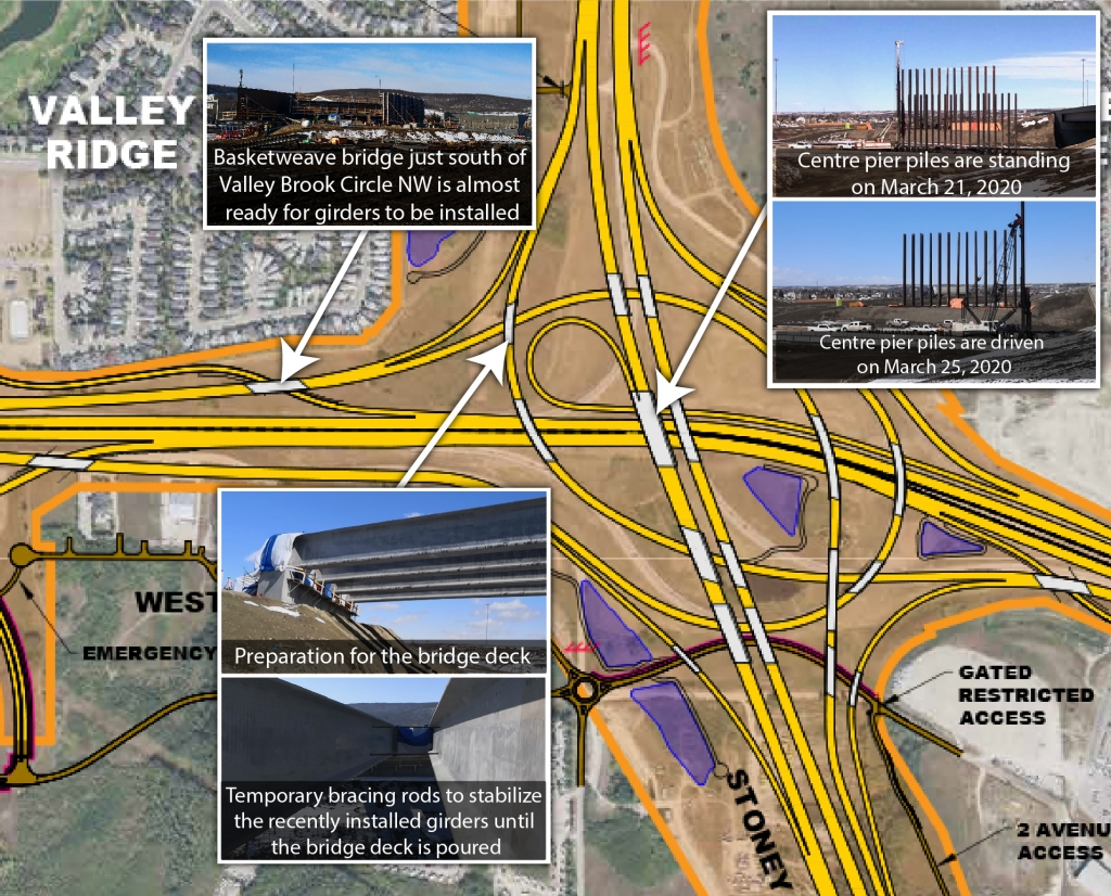 Map of interchange with photos of construction progress on various bridges