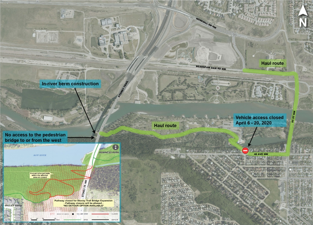 Map of haul truck route through Bowness Park