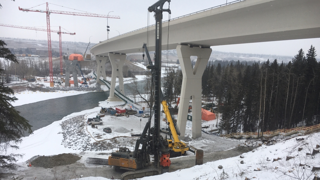 Bow River Bridge south shore work are