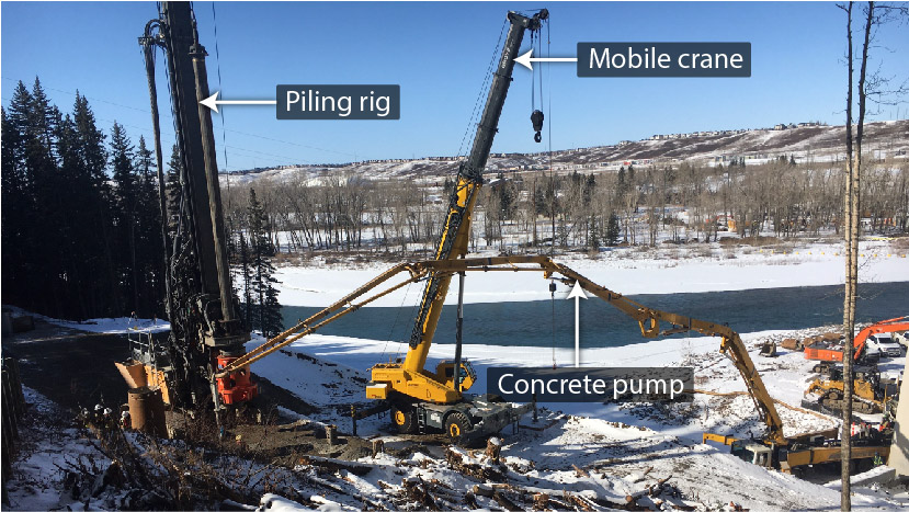 Image of construction equipment with labels