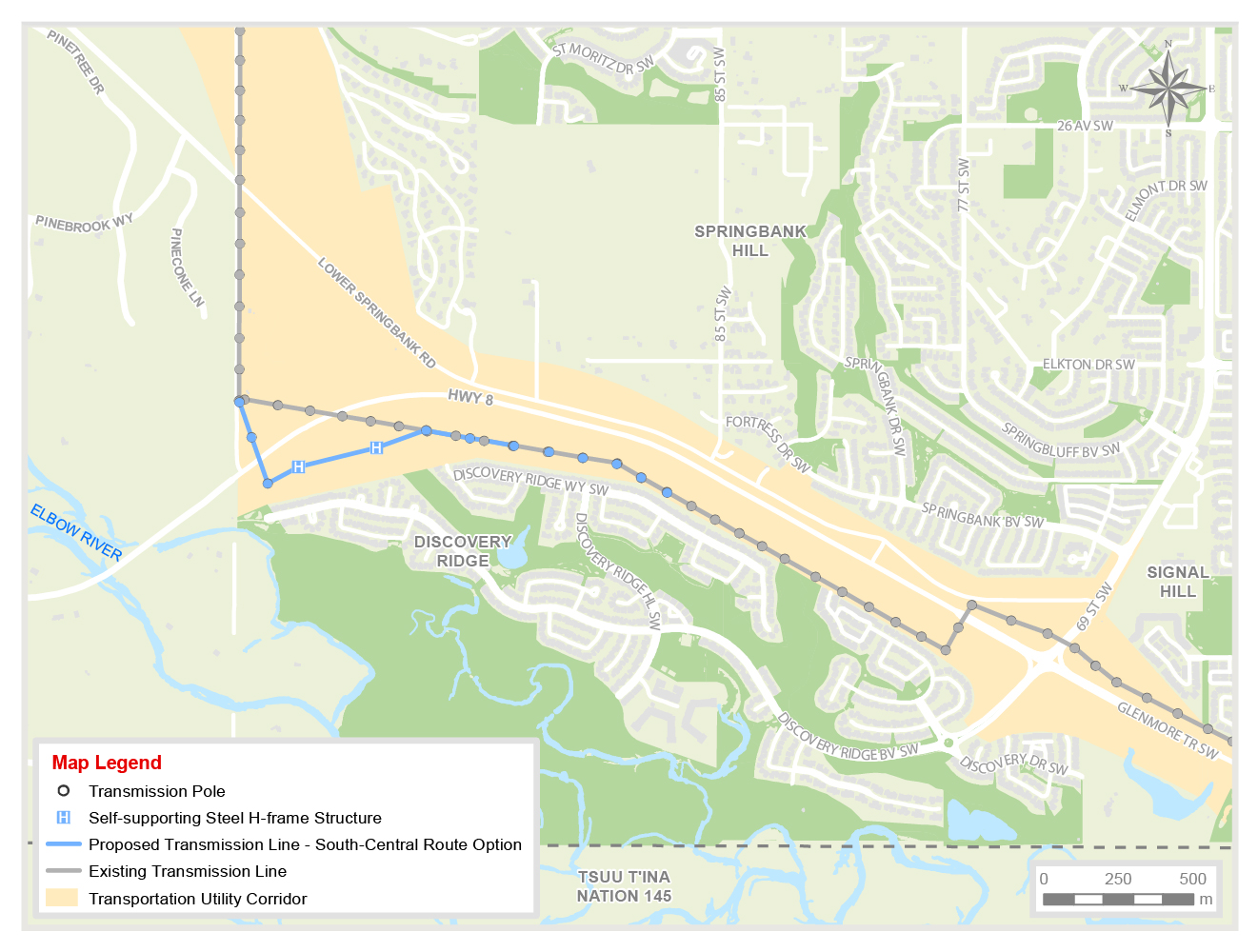 Highway 8 South Central transmission line alignment