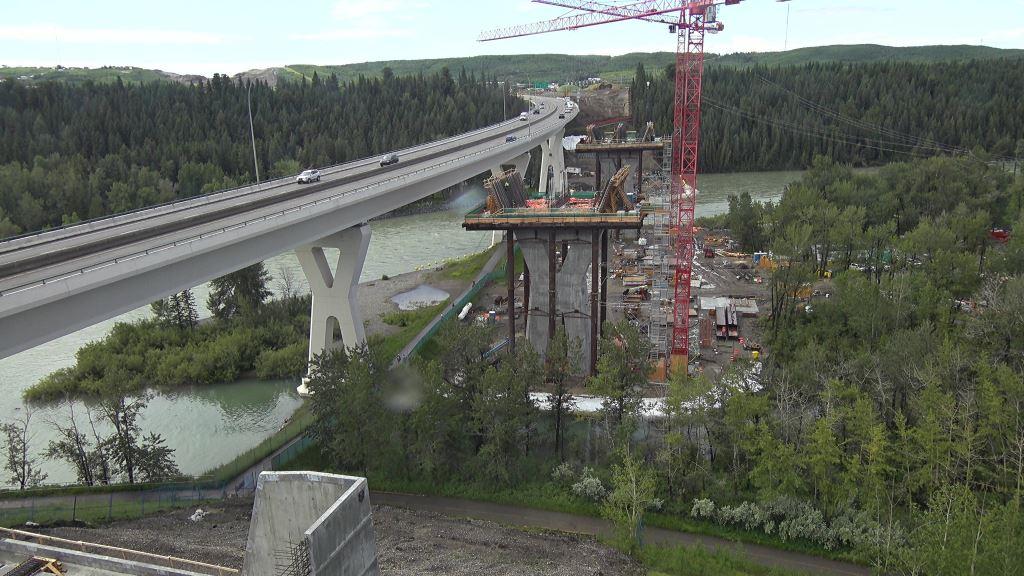 Aerial photo of Bow River Bridge construction site