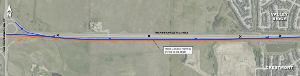 The Trans-Canada Highway will be shifted south of the existing road between Old Banff Coach Road and Valley Ridge Blvd NW