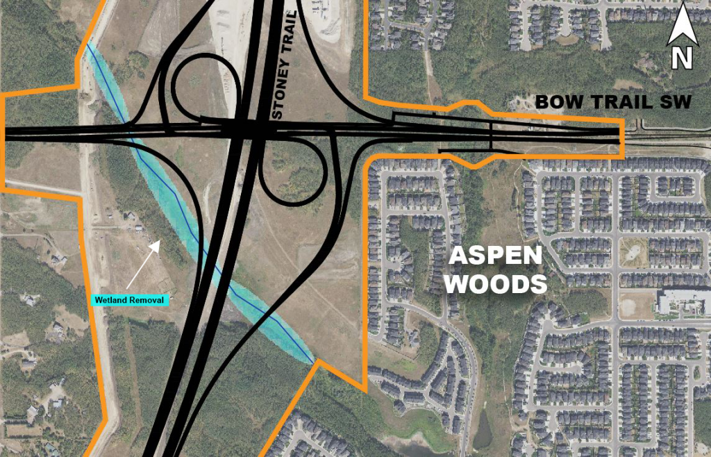 Map showing the wetland removal area