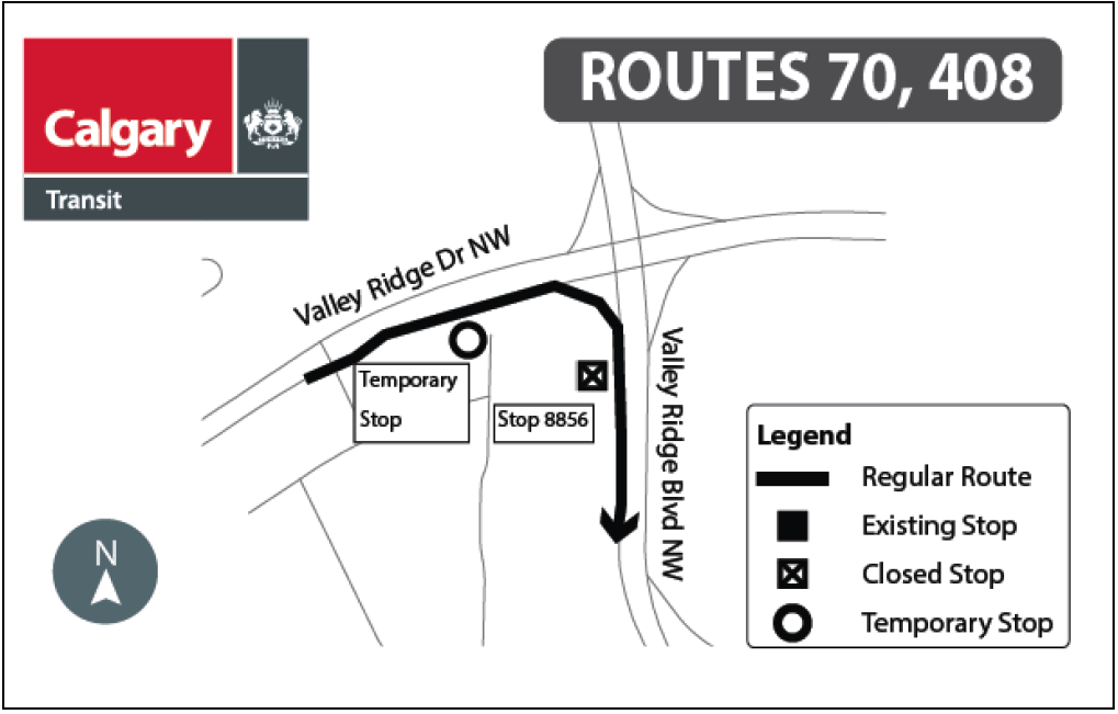 Map showing temporary bus stop location for routes 70 and 408