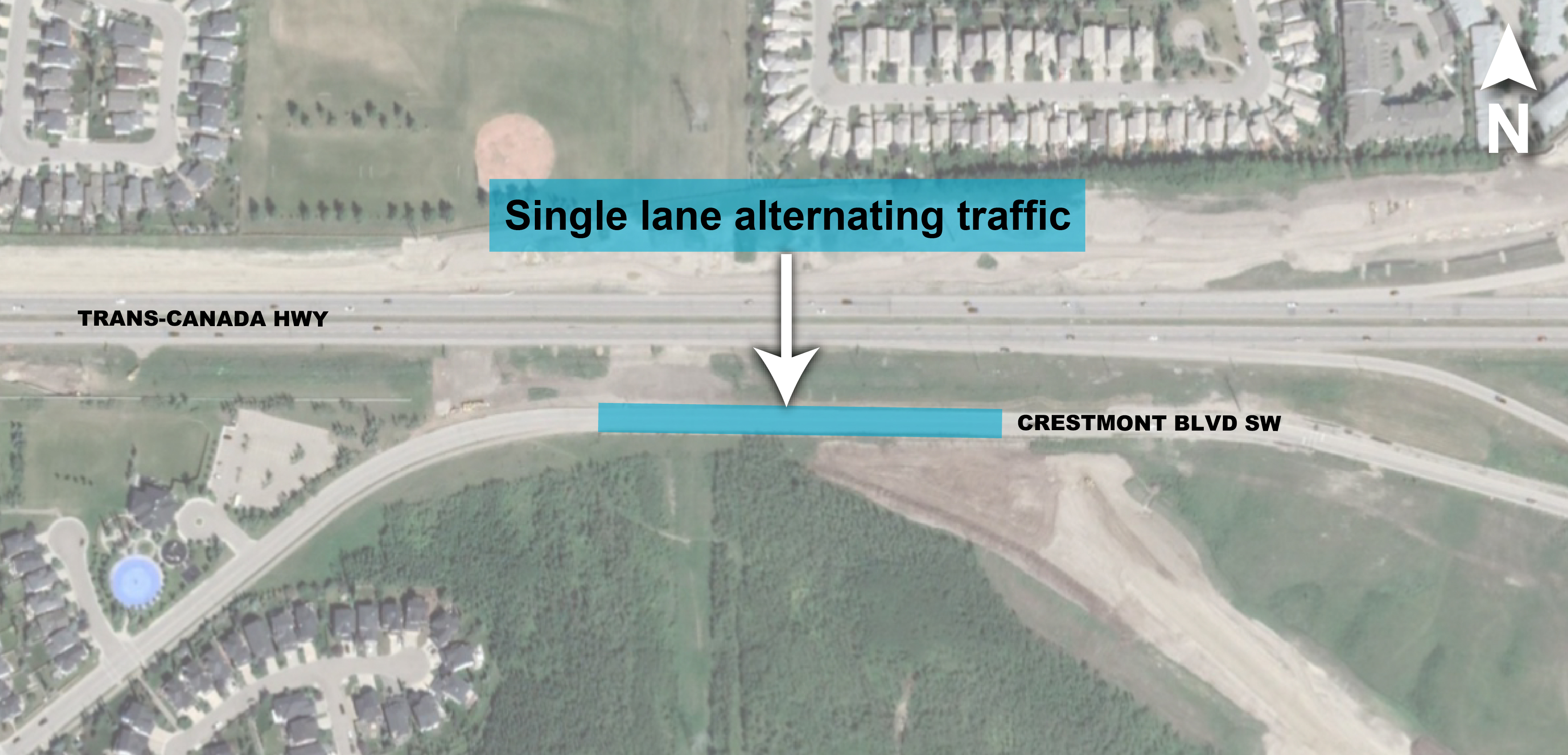 Crestmont alternating traffic map