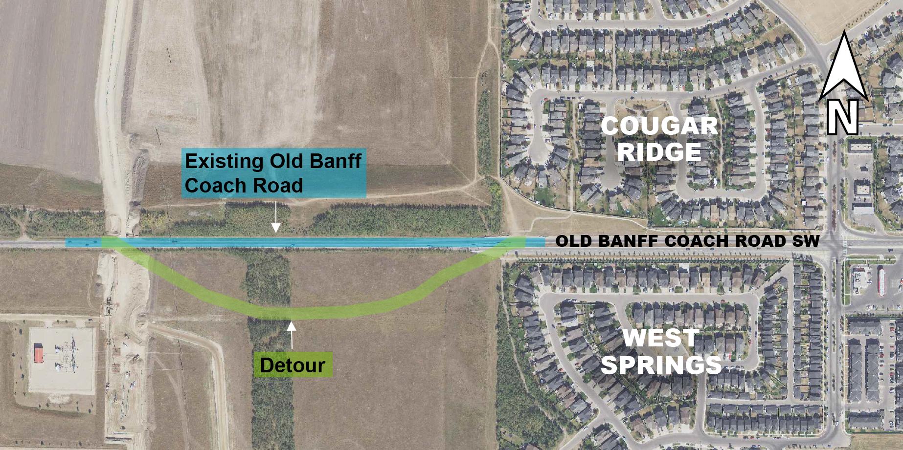 Map of Old Banff Coach Road S.W. detour route