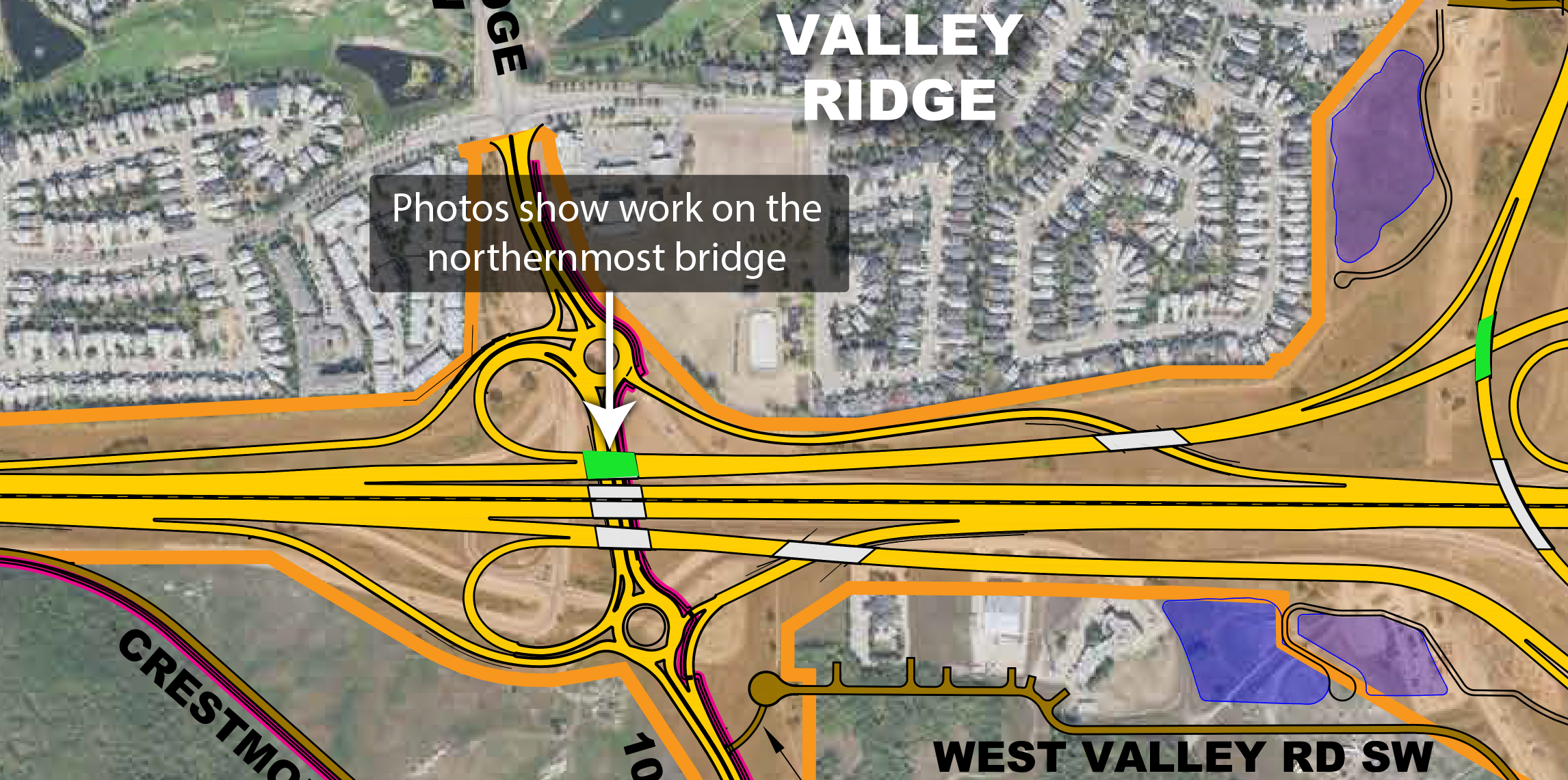 Trans-Canada Highway and Valley Ridge Boulevard N.W. interchange map