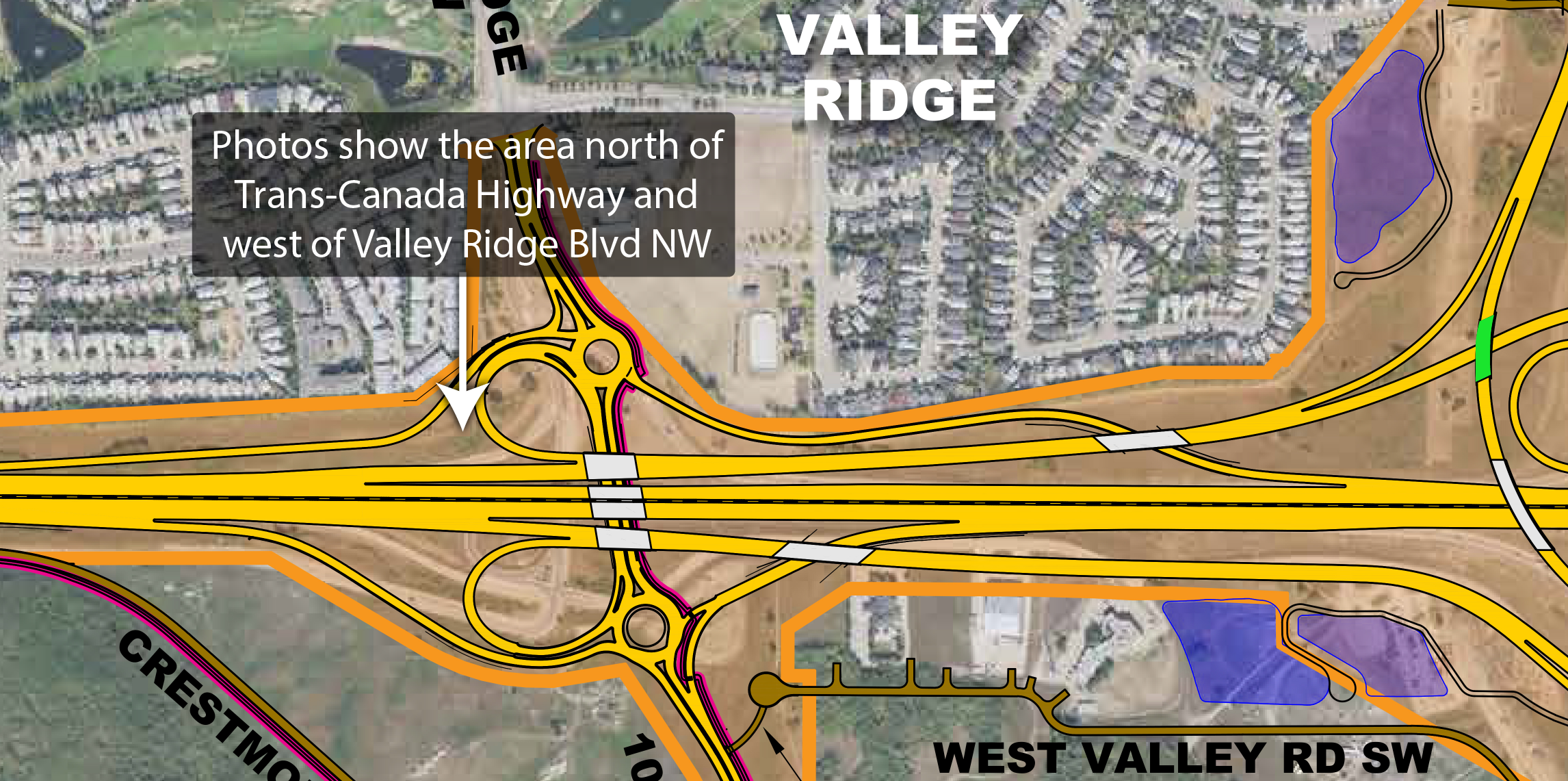 Are north of Trans-Canada Highway and west of Valley Ridge Boulevard N.W.