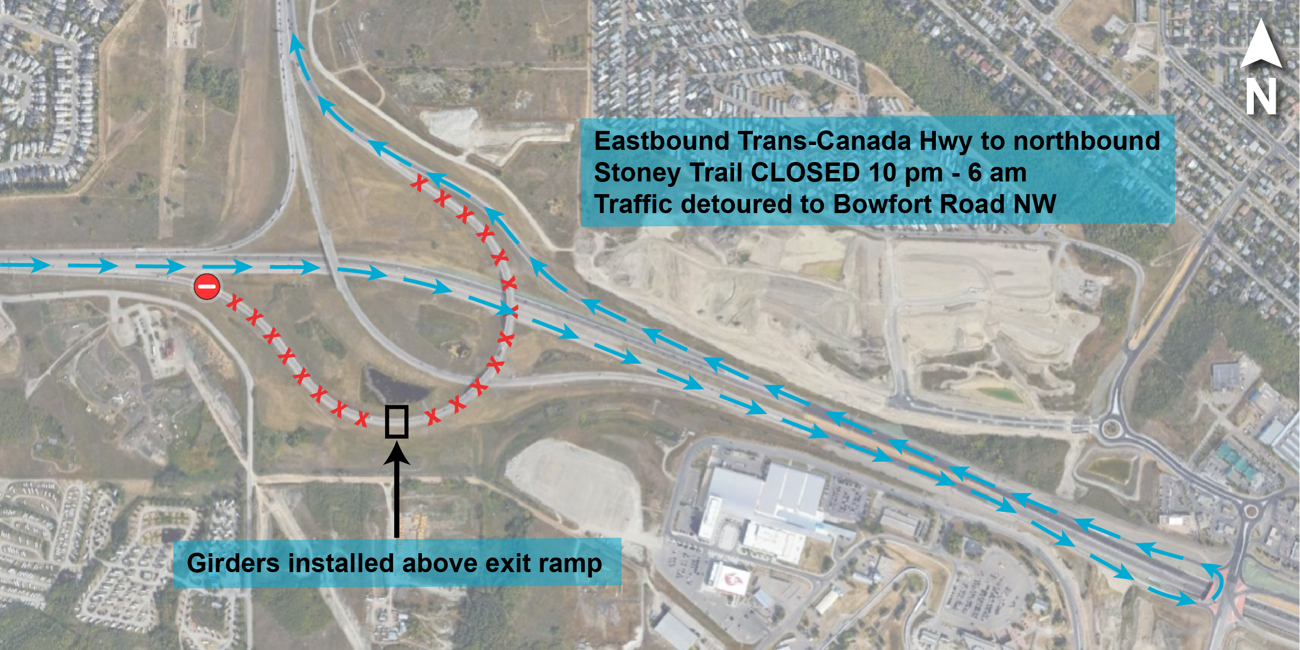 Trans-Canada Highway to Bowfort Road detour map