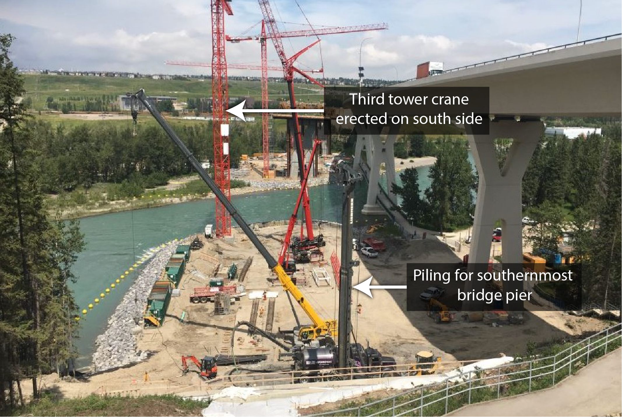 Cofferdam with third crane