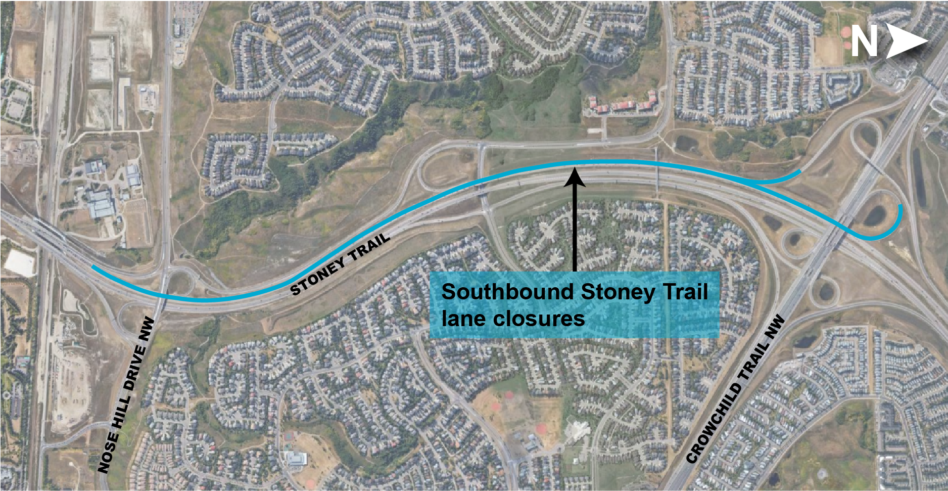 Southbound Stoney Trail lane closure map