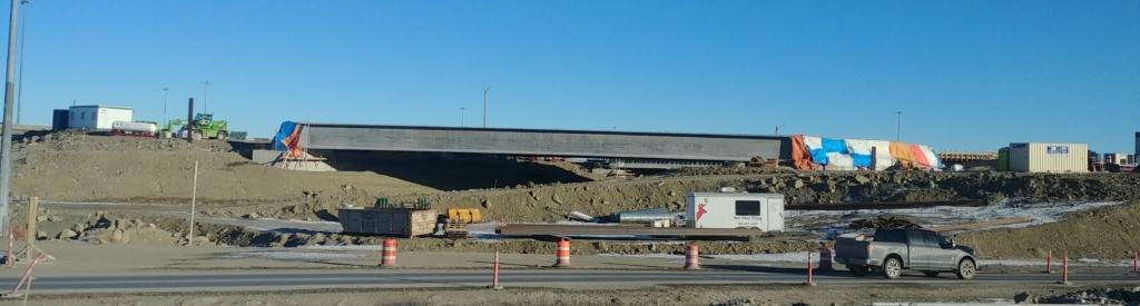 Looking east at bridge girders