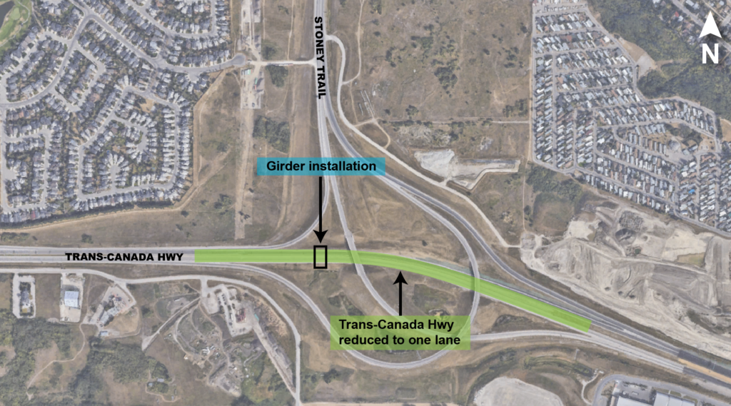 Trans-Canada Highway lane closures map