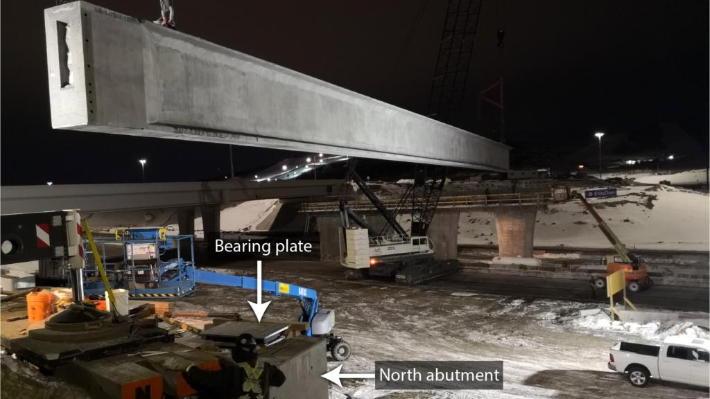 Placing first girder
