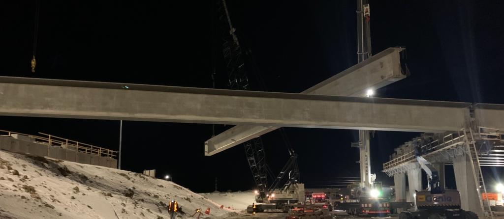 Girder installation on south span