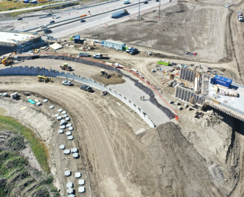 MSE wall and bridge construction