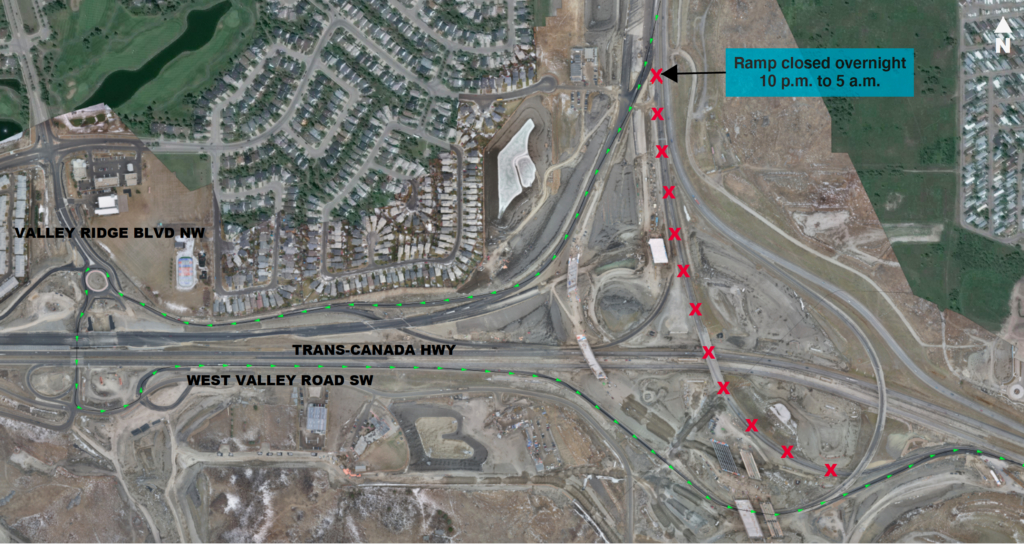 Map showing detour to Valley Ridge Boulevard interchange