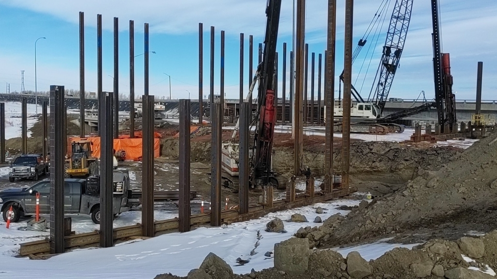 Looking north at piling