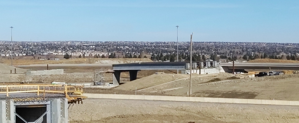 Looking northeast at the girders just installed on the south span