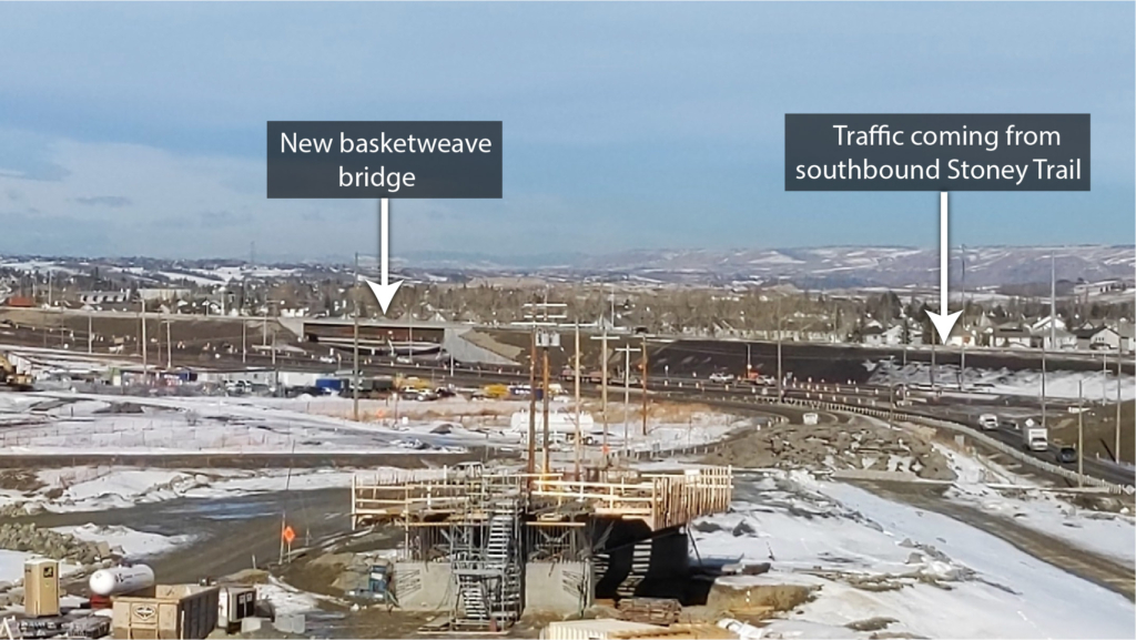New basketweave bridge and traffic coming from southbound Stoney Trail
