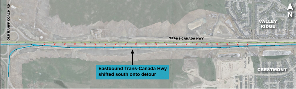 Eastbound Trans-Canada Highway lanes shifted south onto detour