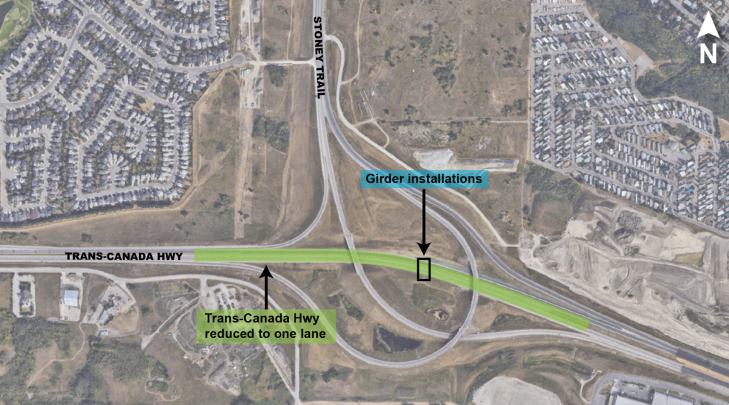 Trans-Canada Hwy lane closures map
