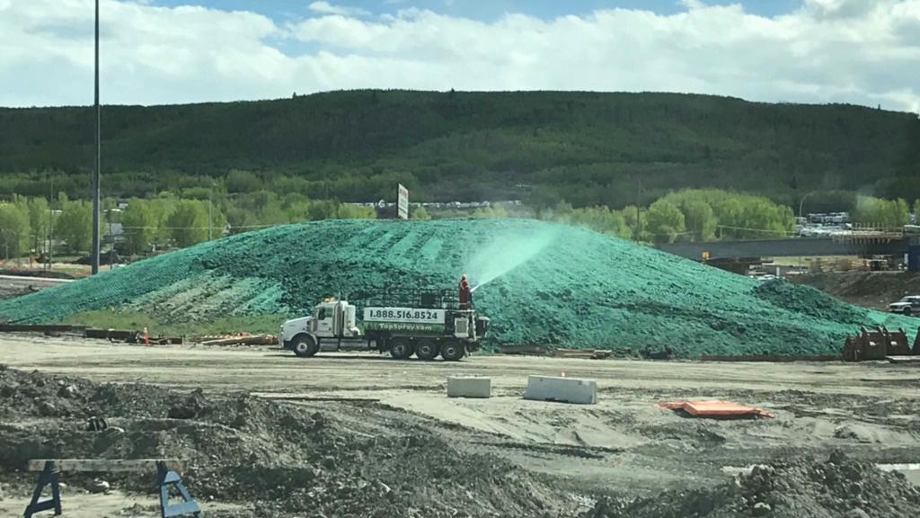 Truck spraying hydroseed