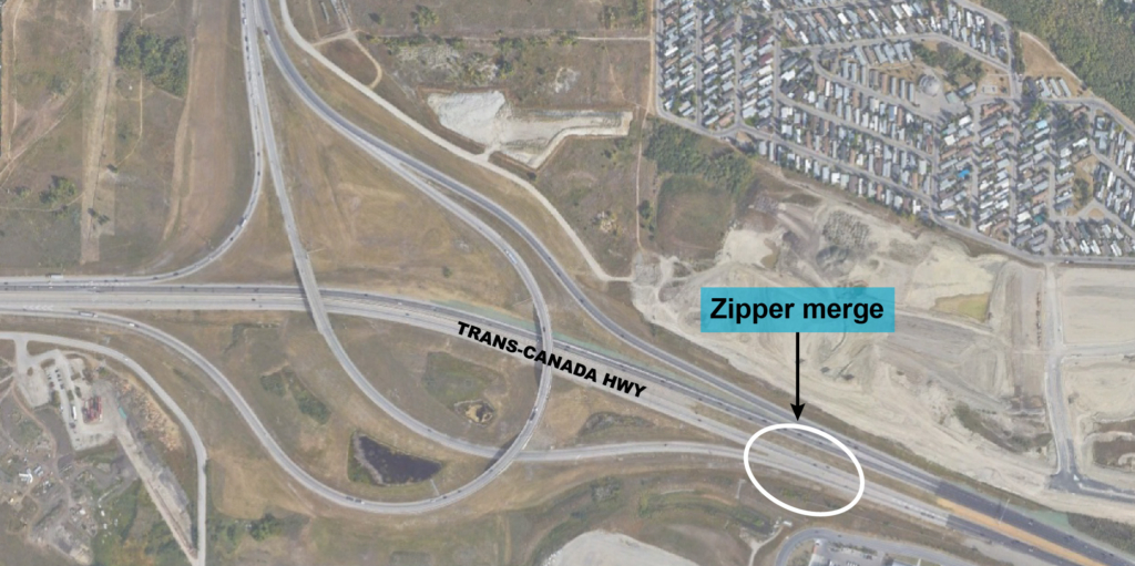 Stoney Trail to Trans-Canada Highway zipper merge location