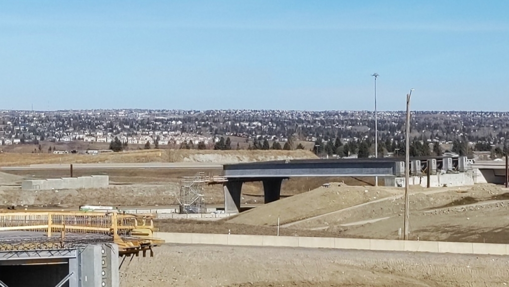 Girders installed on the south span over the eastbound Trans-Canada Highway lanes