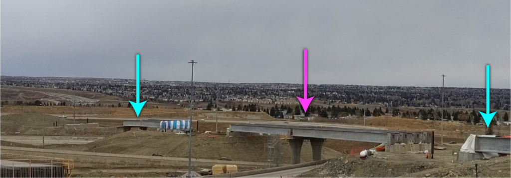 Looking northeast at the three bridges comprising the ramp from northbound Stoney Trail to westbound Trans-Canada Highway