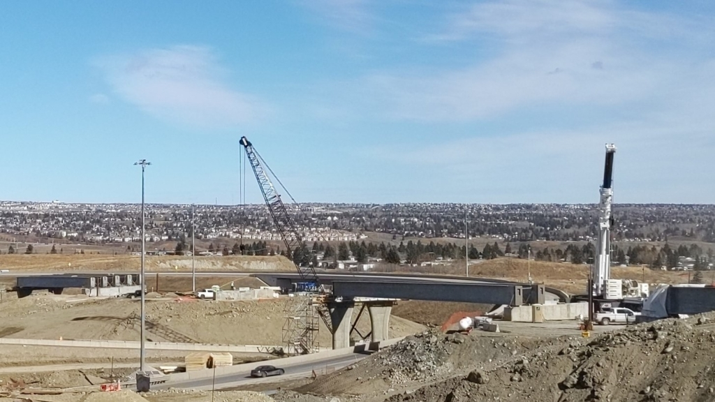 Looking east at girders on the bridges for the ramp from northbound Stoney Trail to westbound Trans-Canada Highway