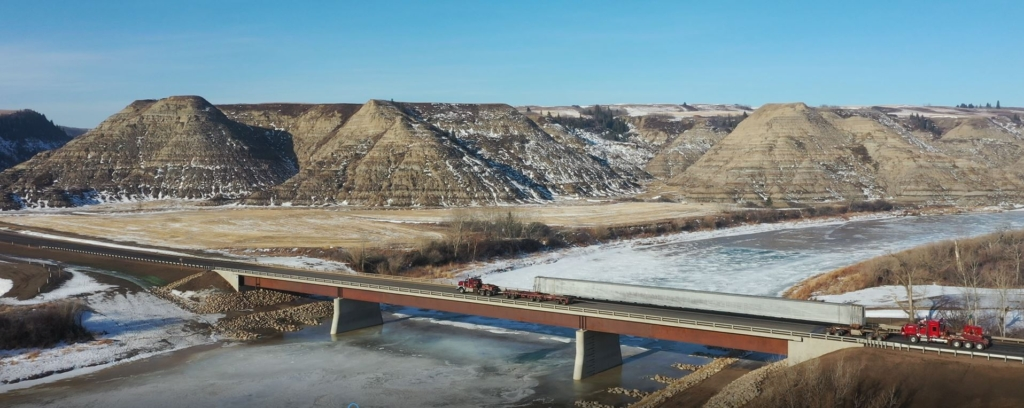 One of the girders on Highway 36 east of Calgary