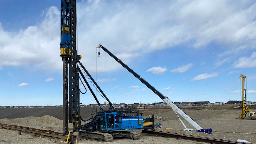 The first pile is driven into the centre of a corrugated steel pipe marking a milestone achievement on the South project