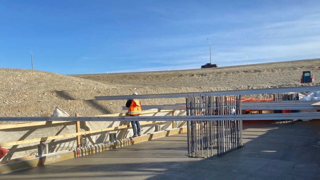 Looking south at the freshly poured concrete for the centre pier footing; approximately 500 cubic metres of concrete was used