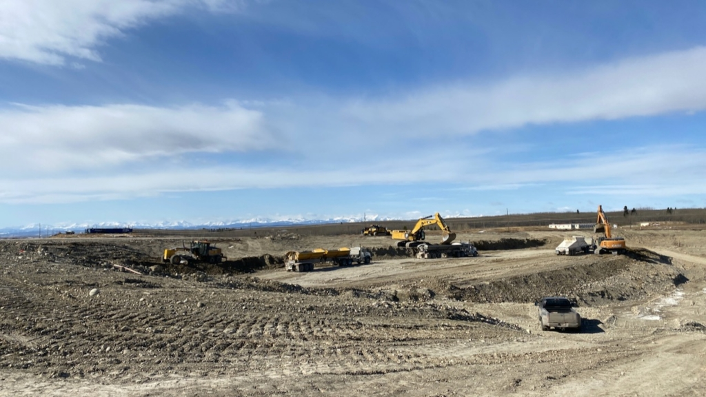 Looking southwest, gravel extraction on the south side of the Bow Trail S.W. interchange continues