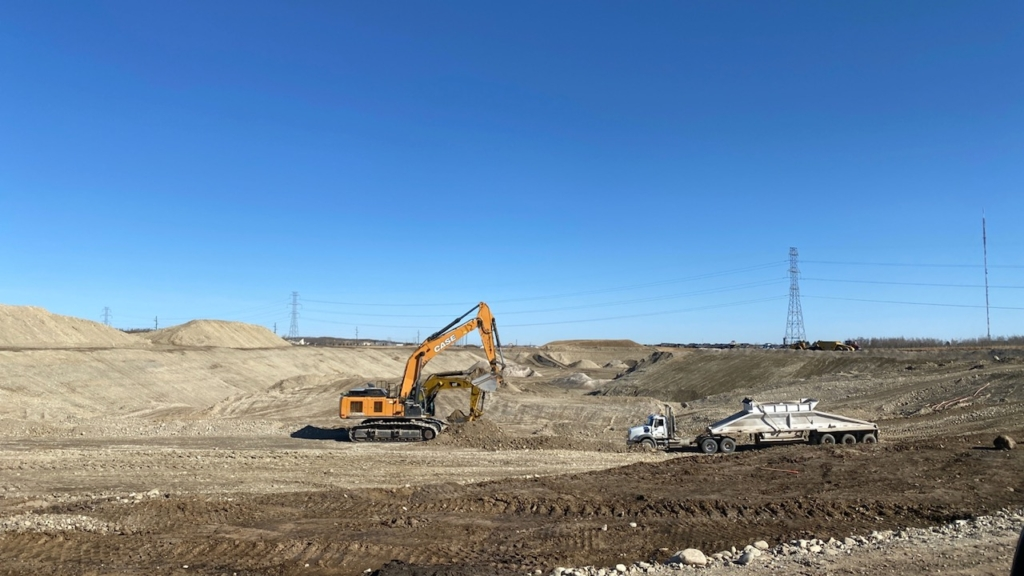 Looking north at gravel extraction for the Bow Trail S.W. interchange